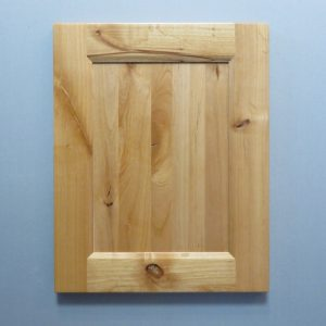 Knotty Alder, Solid Reversed Raised Flat Panel, Bevel Shaker Inside Profile, Natural
