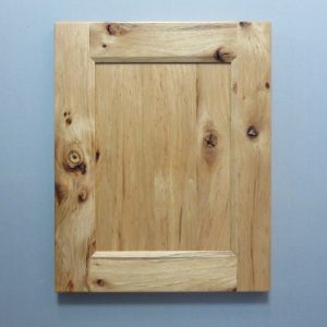 Rustic Hickory, Solid Reversed Raised Flat Panel, Bevel Shaker Inside Profile, Natural