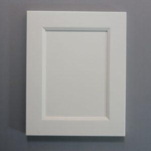Solid Maple Stiles And Rails, 3/8 MDF Flat Panel, Bevel Shaker Inside Profile, Alabaster Paint