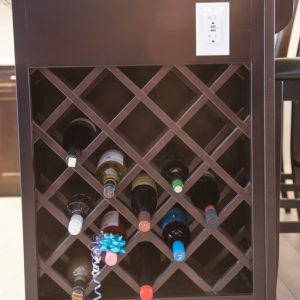 Love Wine? We have wine racks that come in any size and are also available in upper cabinets.