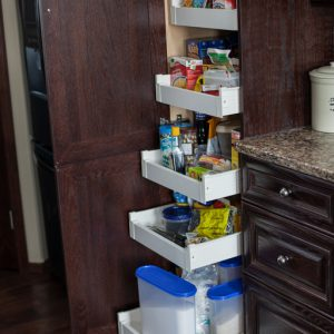 Pantry pullouts. Tired of emptying your shelves to get to the stuff in the back? Pullouts are the answer!