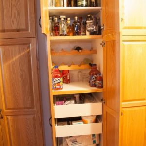 Pantry pullouts with wine storage.