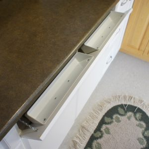 Tilt out trays. Perfect for under a sink where there isn't much usable space.