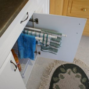 Sliding towel bars.