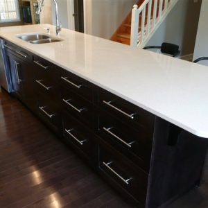 dark stained maple accented island